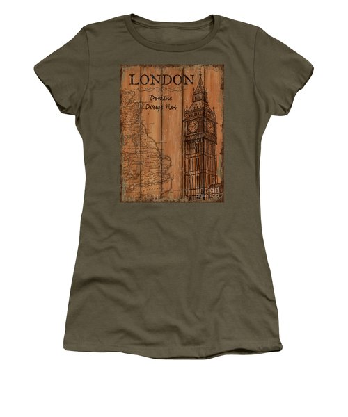 Women's T-Shirt (Junior Cut) featuring the painting Vintage Travel London by Debbie DeWitt