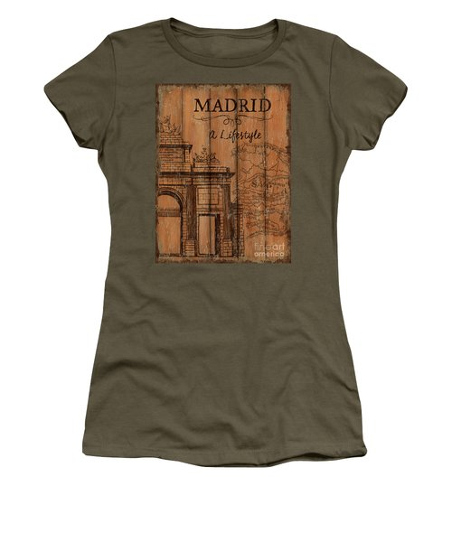 Women's T-Shirt (Junior Cut) featuring the painting Vintage Travel Madrid by Debbie DeWitt