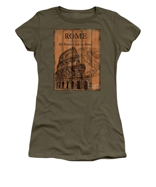 Women's T-Shirt (Junior Cut) featuring the painting Vintage Travel Rome by Debbie DeWitt