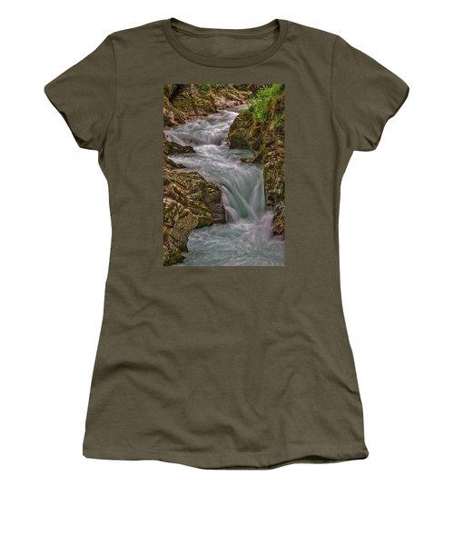 Women's T-Shirt (Athletic Fit) featuring the photograph Vintgar Gorge Rapids #2 - Slovenia by Stuart Litoff