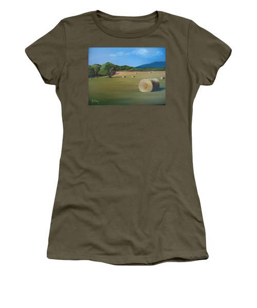 Women's T-Shirt (Junior Cut) featuring the painting Virginia Hay Bales by Donna Tuten