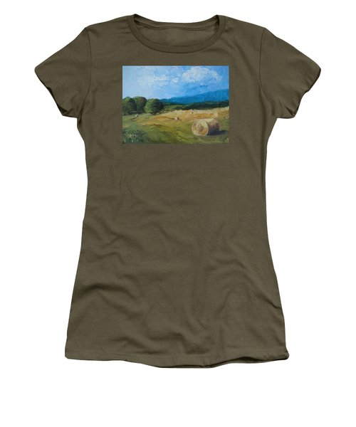 Women's T-Shirt (Junior Cut) featuring the painting Virginia Hay Bales II by Donna Tuten