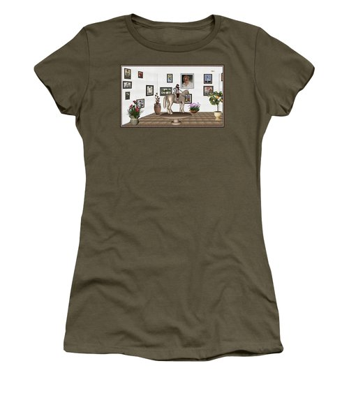 Women's T-Shirt (Junior Cut) featuring the mixed media Virtual Exhibition Horsewoman 13 by Pemaro
