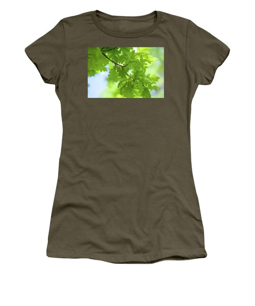 Vivid Greenery Of Oak Tree Leaves Women's T-Shirt