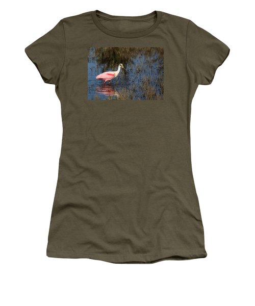 Wading Roseate Spoonbill Women's T-Shirt (Athletic Fit)