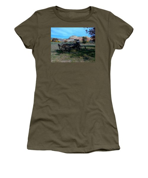 Women's T-Shirt featuring the photograph Wagon And Kitchen Mesa by Joseph R Luciano