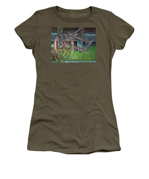 Women's T-Shirt (Junior Cut) featuring the photograph Wagon Wheel And Fence by David and Carol Kelly