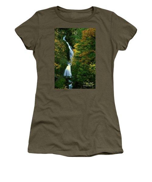Wahkeena Falls Waterfall Women's T-Shirt (Athletic Fit)