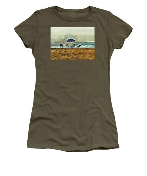 Women's T-Shirt (Junior Cut) featuring the mixed media Waiting On High Tide by Trish Tritz