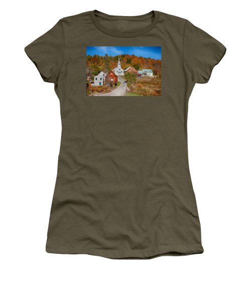 Women's T-Shirt featuring the photograph Waits River Church In Autumn by Jeff Folger