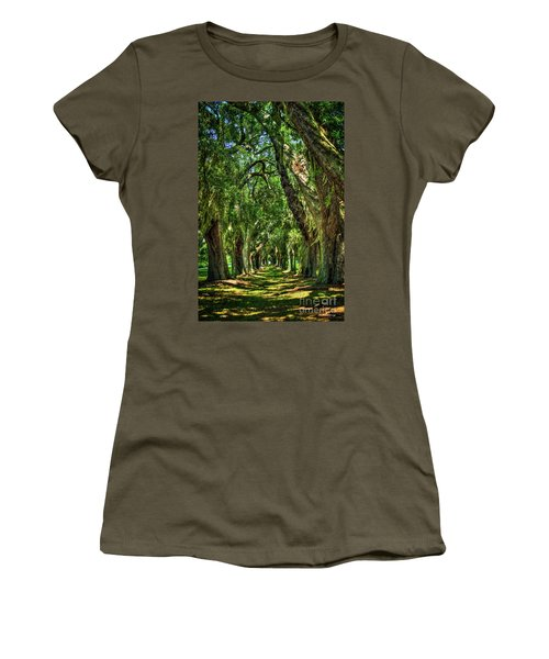 Women's T-Shirt (Junior Cut) featuring the photograph Walk With Me Avenue Of Oaks St Simons Island Art by Reid Callaway