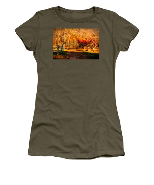 Women's T-Shirt featuring the photograph Walking Down The Autumn Path by Jeff Folger