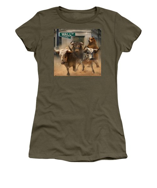 Wall Street -- Bull And Bear Markets Women's T-Shirt (Athletic Fit)