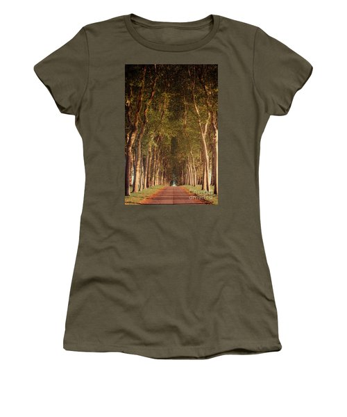 Warm French Tree Lined Country Lane Women's T-Shirt