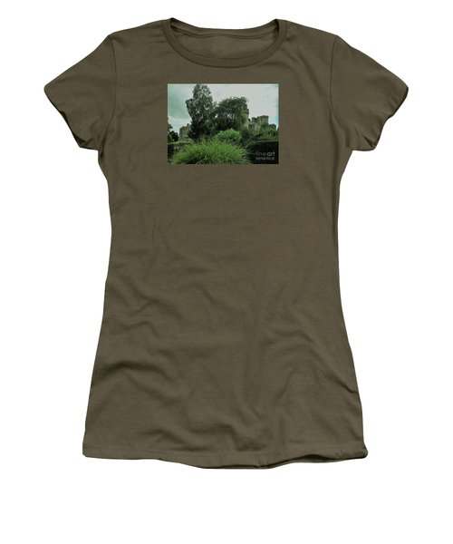 Warwick Castle Bathed In Green Light Women's T-Shirt (Athletic Fit)