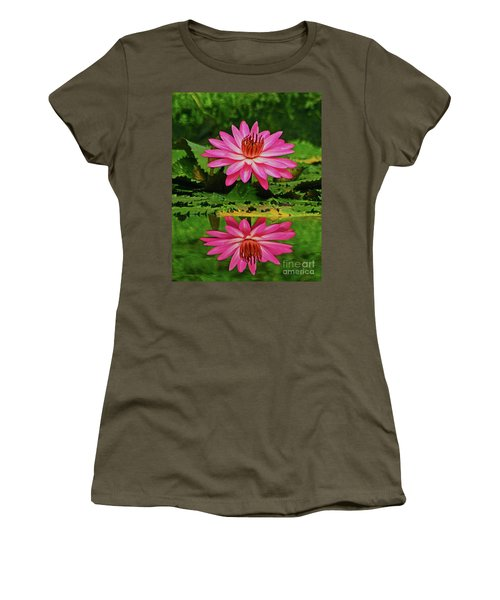 Women's T-Shirt (Junior Cut) featuring the photograph Hot Pink Water Lily Reflection by Larry Nieland