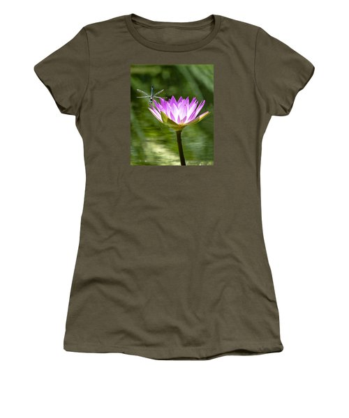 Water Lily With Dragon Fly Women's T-Shirt (Junior Cut) by Bill Barber