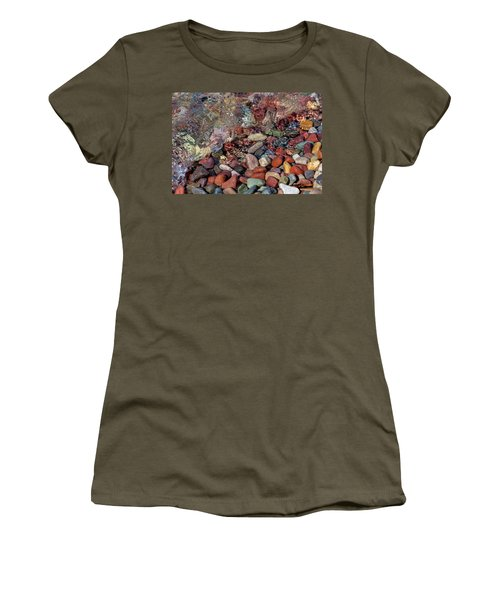 Women's T-Shirt (Athletic Fit) featuring the photograph Water On The Rocks by Fran Riley
