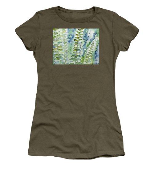 Watercolor - Rainforest Fern Impressions Women's T-Shirt