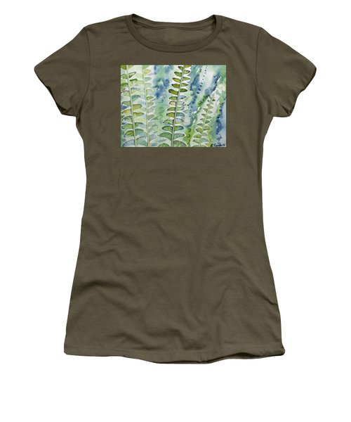 Watercolor - Rainforest Fern Impressions Women's T-Shirt
