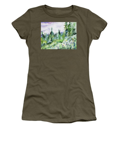 Watercolor - Summer In The Rockies Women's T-Shirt