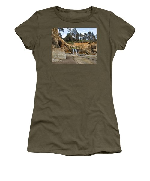 Waterfall At Hug Point State Park Oregon Women's T-Shirt
