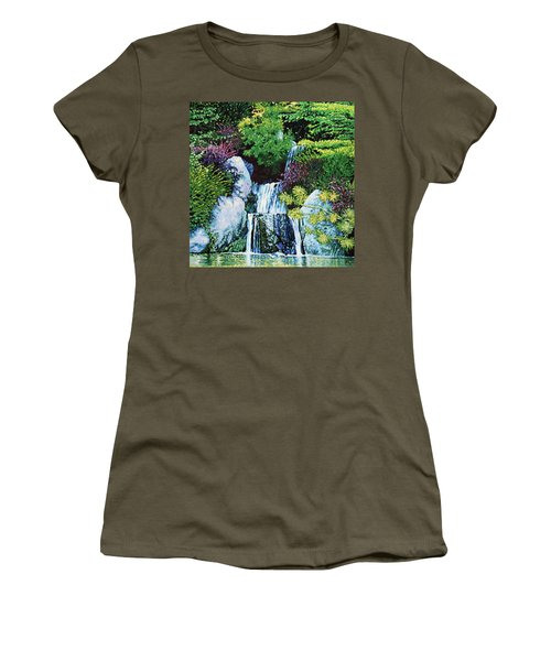 Waterfall At Japanese Garden Women's T-Shirt (Athletic Fit)