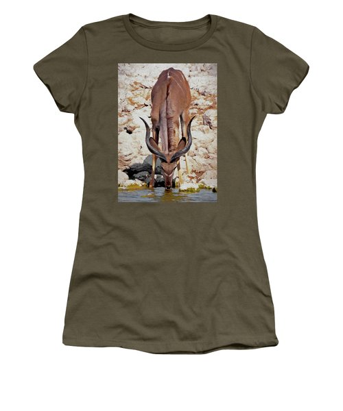 Waterhole Kudu Women's T-Shirt (Junior Cut) by Ernie Echols