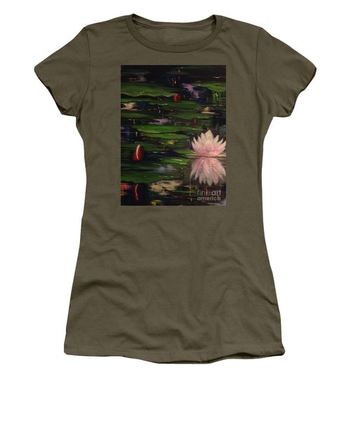 Women's T-Shirt (Junior Cut) featuring the painting Waterlilies - Original Sold by Therese Alcorn