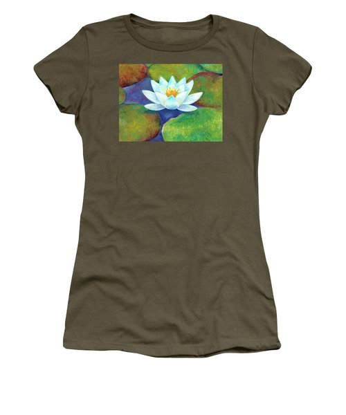 Women's T-Shirt (Athletic Fit) featuring the painting Waterlily by Elizabeth Lock