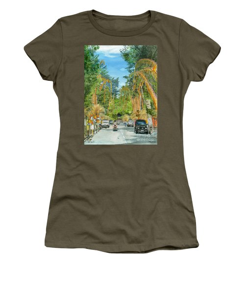 Women's T-Shirt (Junior Cut) featuring the painting Weeping Janur Bali Indonesia by Melly Terpening