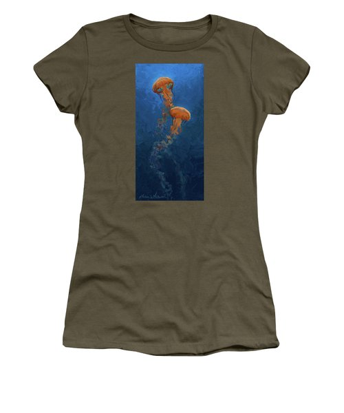 Women's T-Shirt (Junior Cut) featuring the painting Weightless - Pacific Nettle Jellyfish Study  by Karen Whitworth