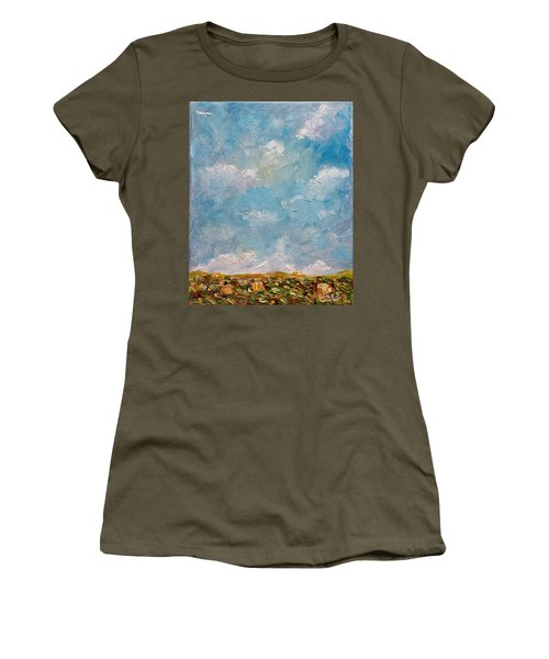 Women's T-Shirt (Athletic Fit) featuring the painting West Field Seedlings by Judith Rhue
