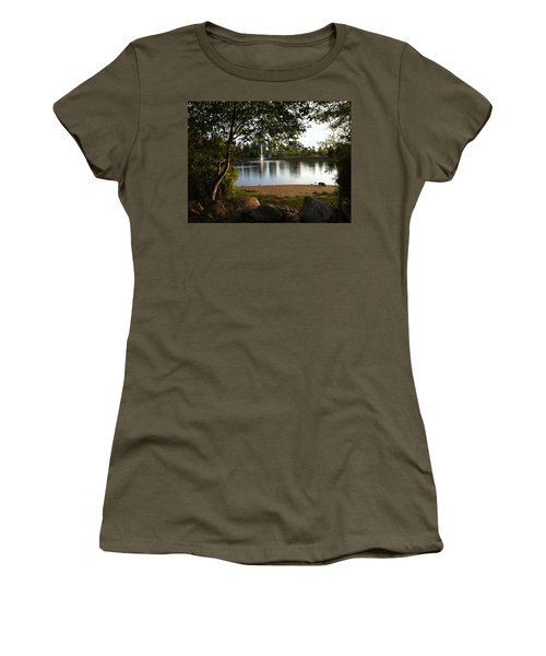 Women's T-Shirt (Junior Cut) featuring the painting West View Of Lafarge Lake by Rod Jellison