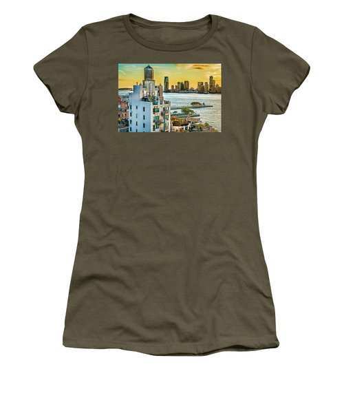 Women's T-Shirt (Junior Cut) featuring the photograph West Village To Jersey City Sunset by Chris Lord