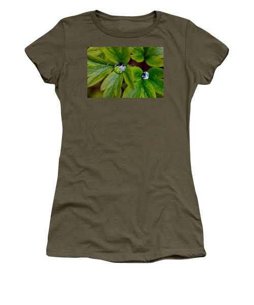 Wet Bleeding Heart Leaves Women's T-Shirt (Athletic Fit)