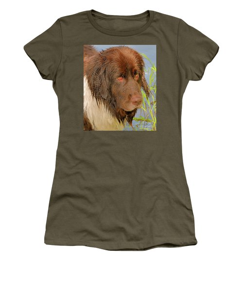 Women's T-Shirt (Athletic Fit) featuring the photograph Wet Newfie by Debbie Stahre