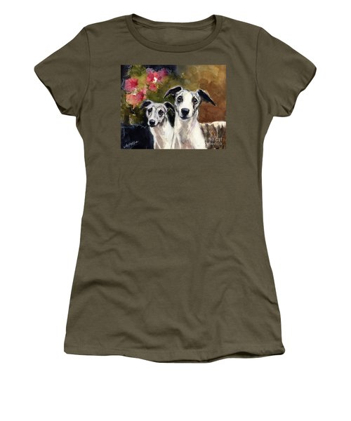 Women's T-Shirt (Junior Cut) featuring the painting Whippets by Molly Poole