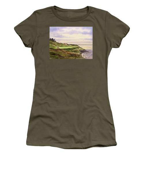 Whistling Straits Golf Course Hole 7 Women's T-Shirt (Junior Cut) by Bill Holkham