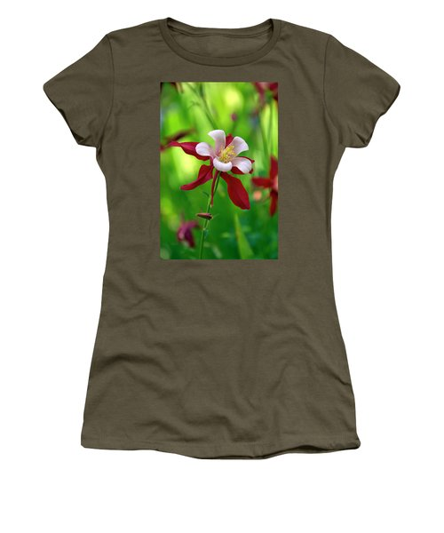Women's T-Shirt (Junior Cut) featuring the photograph White And Red Columbine  by James Steele