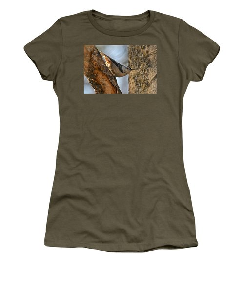 White Breasted Nuthatch 370 Women's T-Shirt (Junior Cut) by Michael Peychich