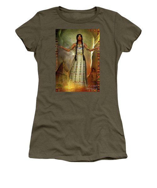 Women's T-Shirt (Junior Cut) featuring the digital art White Buffalo Calf Woman by Shadowlea Is