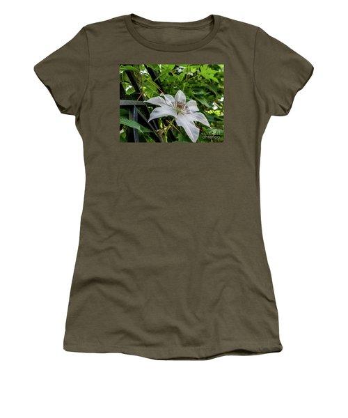 White Clematis Flower Garden 50129 Women's T-Shirt (Athletic Fit)