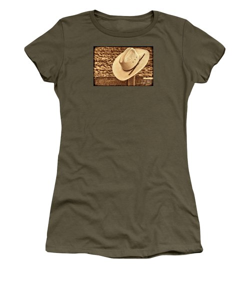 White Cowboy Hat On Fence Women's T-Shirt (Junior Cut) by American West Legend By Olivier Le Queinec