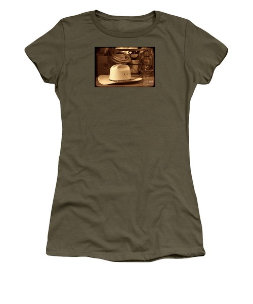 White Cowboy Hat On Workbench Women's T-Shirt (Junior Cut) by American West Legend By Olivier Le Queinec