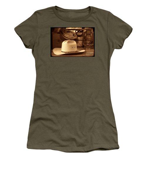 White Cowboy Hat On Workbench Women's T-Shirt