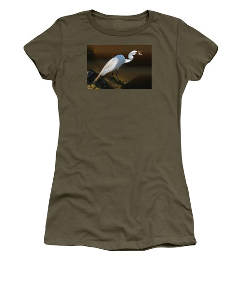 White Egret Fishing For Midday Meal II Women's T-Shirt (Junior Cut) by Suzanne Gaff