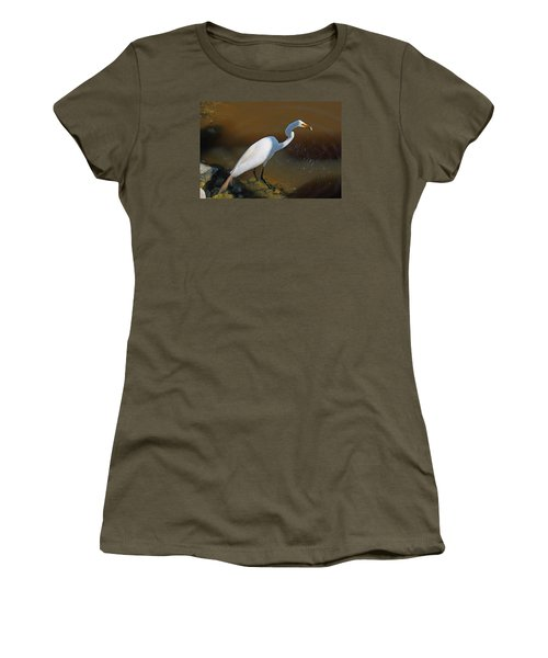 White Egret Fishing For Midday Meal Women's T-Shirt (Junior Cut) by Suzanne Gaff