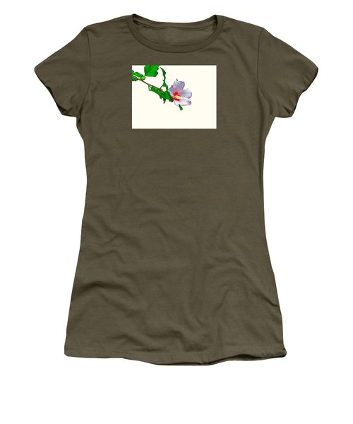 White Flower And Leaves Women's T-Shirt (Junior Cut) by Craig Walters