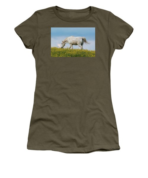 Women's T-Shirt featuring the photograph White Horse Of Cataloochee Ranch 2 - May 30 2017 by D K Wall